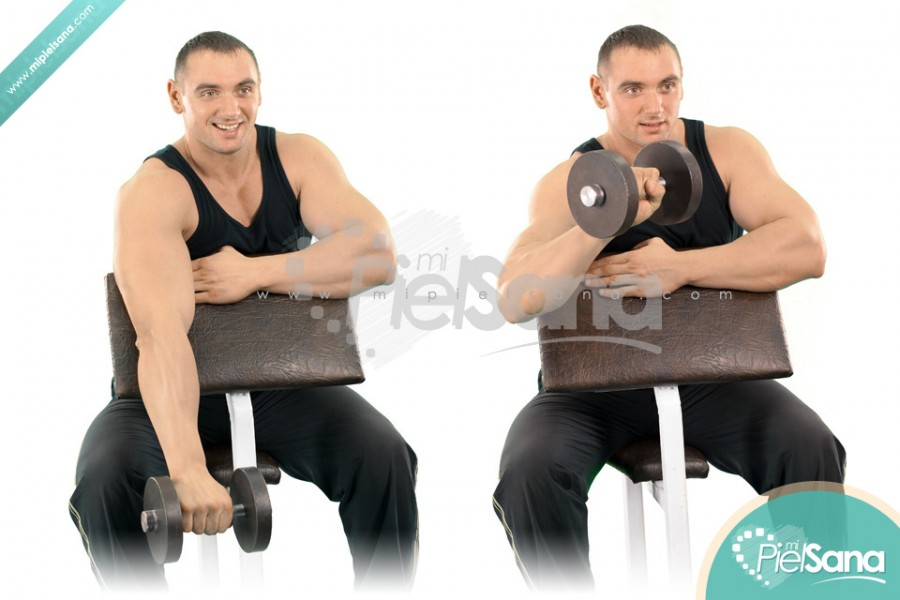 One Arm Reverse Dumbbell Preacher Curl
