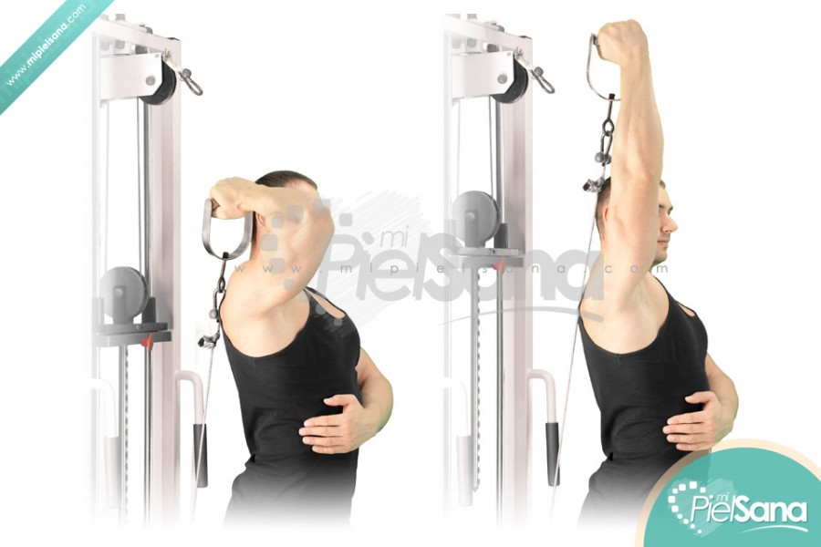 Reverse Grip One Arm Standing Overhead Cable Tricep Extension