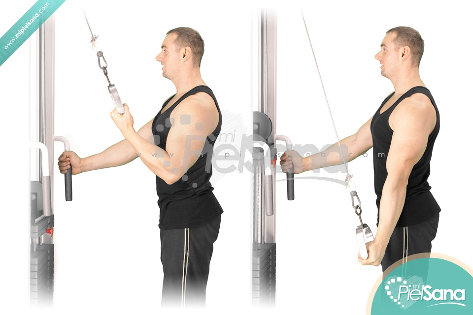 Cable Tricep Extension : One arm cable tricep extension video exercise guide tips